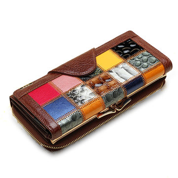 Women Genuine Leather Trifold Stitching Wallet