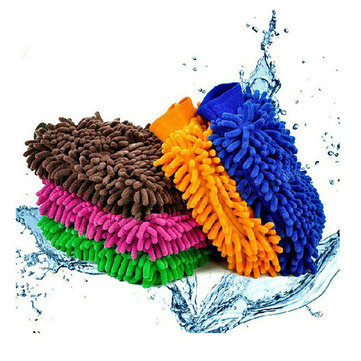 1 piece Car Product Cache Gloves Chenille Wash Mitt Brush Washing Tools, Royal blue pink blue green