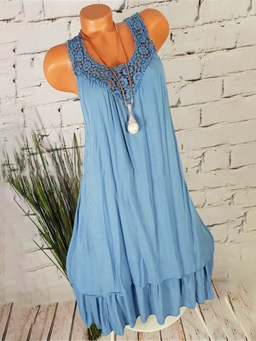 Sleeveless Hollow-out Casual Dresses