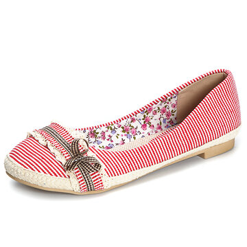 Stripe Bowknot Sweet Lace Flat Casual Shoes For Women