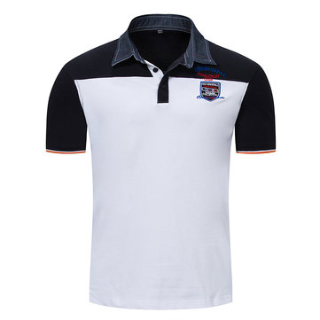 dfbea28a78 Mens Summer Stylish Hit color Embroidery Logo Tees Slim Fit Business Casual  Golf Shirt
