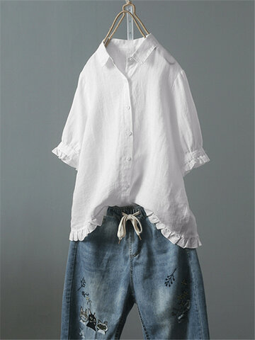 166b6b8b4a777c Lace Solid Color Shirt