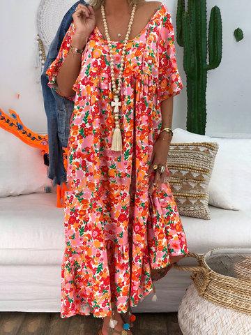 Estampado floral bohemio maxi Vestido