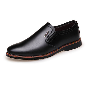 Men British Style Slip On Non-slip Rubber Sole Flat Business Shoes