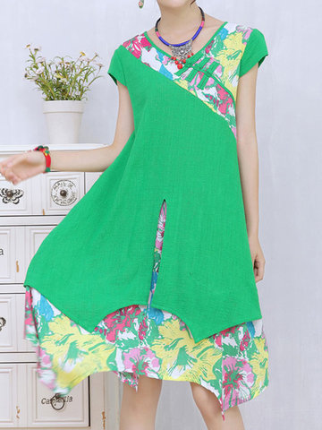 Floral Print Fake Two Piece Short Sleeve V-neck Dress For Women