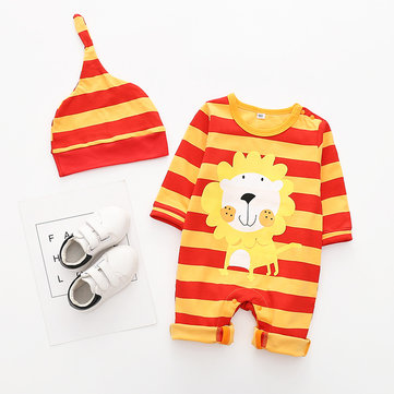 Cartoon Baby Rompers Hat Sets For 0-18M