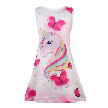 Unicorn Butterfly Girls Dress For 4-13Y
