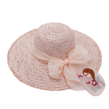 f68ff89c2ed Women Vacation Lace Straw Hat Big Brim Outdoor Sea Sunshade  Ultraviolet-proof Hats
