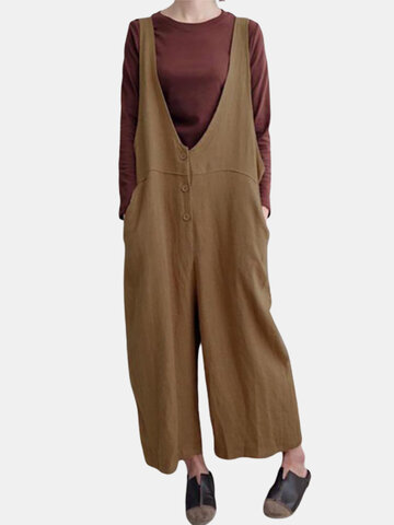 Pure Color Overall Jumpsuits