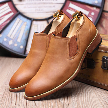 Men Pointed Toe Cow Leather Low-top Casual Boots