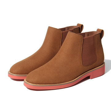 Men Suede British Style Pure Color Elastic Panels Slip On Chelsea Boots