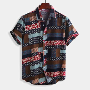 Mens Ethnic Style Floral Printing Shirts Cotton Camisas