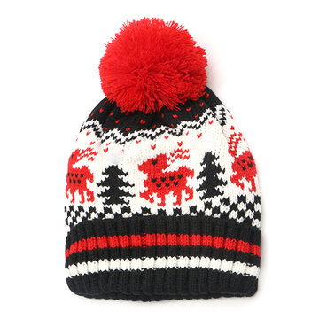 ee35a2dc0fd01 Women Winter Thicken Knitted Deer Beanie Hat With Pom Pom Casual Warm HIgh  Elastic Hat Christmas
