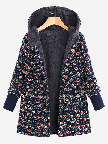 Abrigo con capucha de lana estampado floral