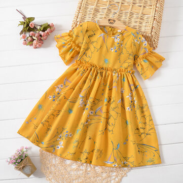 Floral Girls Chiffon Casual Dress 4Y-15Y