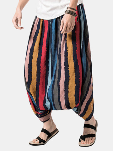 Striped Printed Casual Baggy Loose Pants