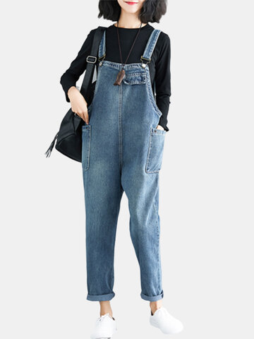 Casual Denim Loose Jumpsuit