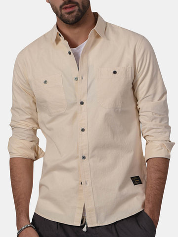 Spring Fall Solid Color Embroidered Fit Slim Breathable Shirt for Men
