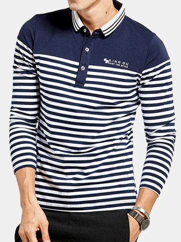 Mens Cotton Slim Fit Striped Long Sleeve Golf Shirt, White navy
