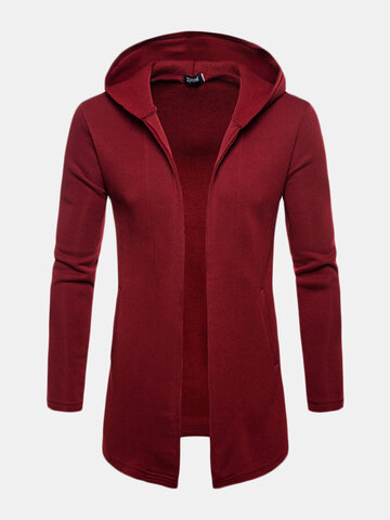 Mens Casual Mid Long Solid Color Hooded Cardigan