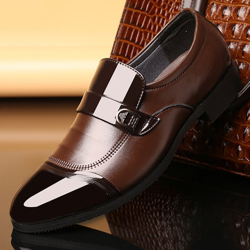Men Metal Buckle Business Formal Shoes