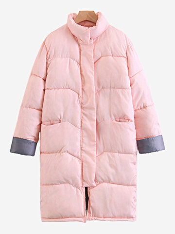 Solid Color Winter Cotton Coats