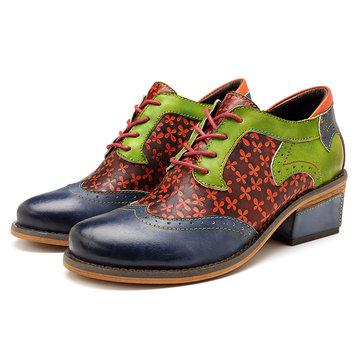 SOCOFY Chaussures rétro en cuir