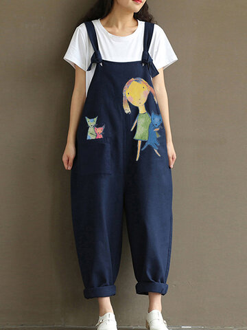 Print Cartoon Cotton Jumpsuit