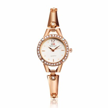 SOXY Luxury Watch Simple Alloy Rose Gold Rhinestone Women Watch