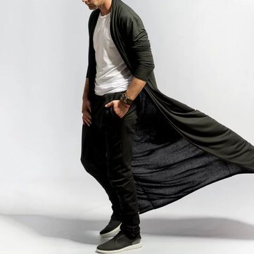 Mens Long Draped Solid Color Cardigan