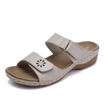 Adjustable Hook Loop Roman Slippers