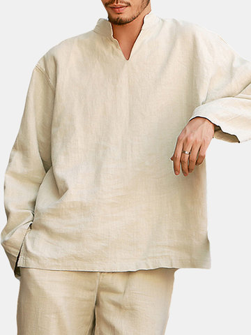 Chinese Style Long Sleeve Loose T Shirts
