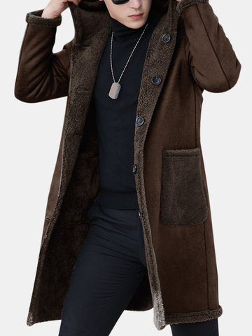 Men Double-sided Wearable  Hooded Shearling Coat