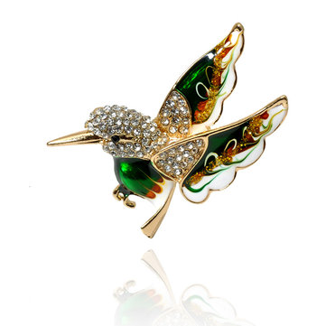 Women Colorful Bird Brooches Jewelry, Black green red