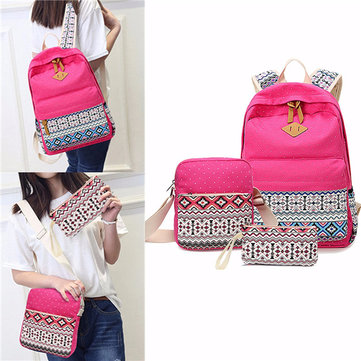 Canvas Tribal 3pcs Rucksack Crossbody Bag Tote Casual Bags