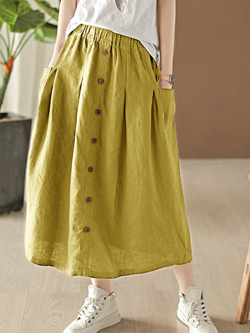 Solid Color Button Loose Skirt