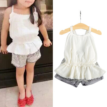Girls Sequined Shorts Sets 1Y-7Y