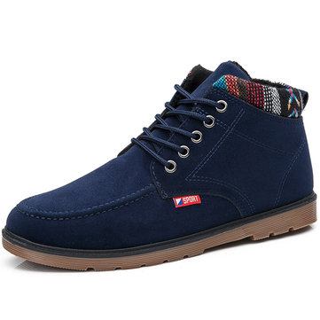 British Style Recreational Plush Lining Casual Lace Up Ankle