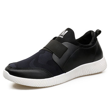 Men Elastic Panels Respirable Mesh Mesh Slip On Casual Running Sneakers