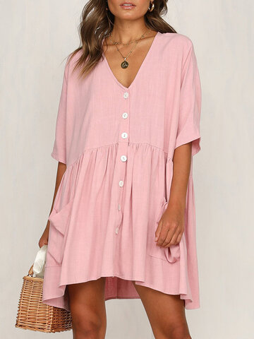 Side Pockets Solid Color V Neck Casual Dress
