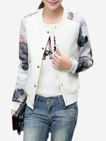 Women Flower Print Baseball Button Long Sleeves Jackets