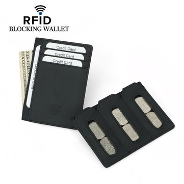Herren Echtleder RFID Antimagnetic Wallets Kartenhalter