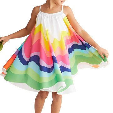 Girls Rainbow Strap Dress For 2-9Y