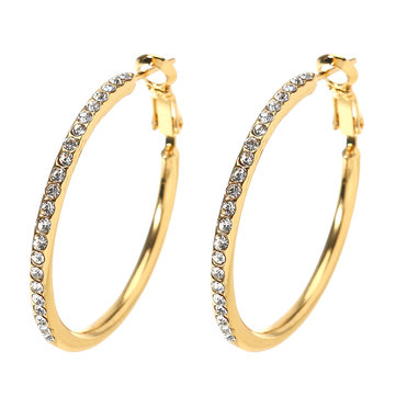 JASSY Classic Diamond Hoop Earrings