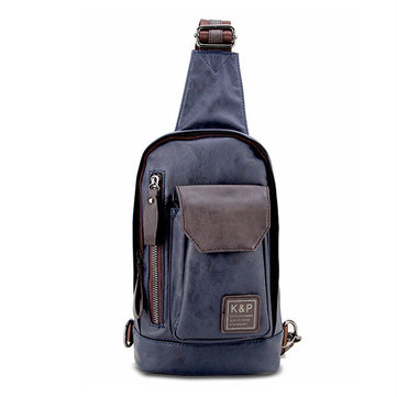 Men's Sport Small Black Blue Brown Casual PU Leather Shoulder Crossbody Chest Bag, Black brown