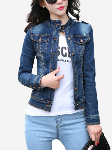 Long Sleeve Slim Stand Collar Denim Jacket