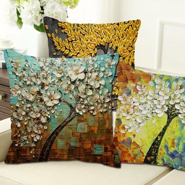 Funda de almohada retra floral en 3D de algodón y lino Cubierta de cojín de 20 estilos