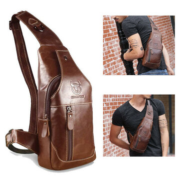 568a750053f7 Bullcaptain Men Genuine Leather Business Casual Chest Bag