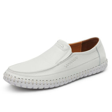 30bece906e1 Large Size Men Hand Stitching Soft Doug Shoes Slip On Leather Loafers