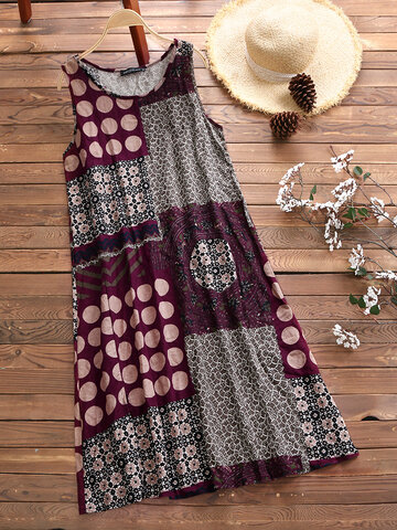 Ethnic Printed Sleeveless Vintage Dresses